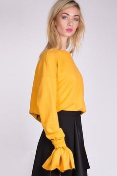 e9682c3d2025 Sweatshirt with Frill Cuffs - Mustard Ethical Fashion, No Frills, Mustard,  Cuffs,