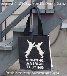 "Win 1 of 5 LUSHcosmetics ""Fighting Animal Testing Tote Bags"
