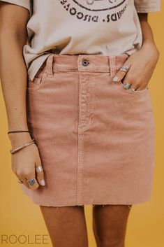 af1ee12aa43 Corduroy Mini Skirt. Pink skirt outfit ideas for women. Spring 2019 fashion  trends.
