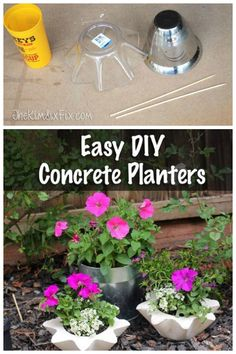 Easy DIY concrete planters using bowls from the dollar store