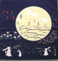 Rabbit Moon festival japanese | In Japan they believe that the two rabbits are pounding mochi. If you ...