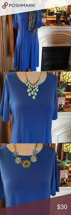 NWOT - Basic Blue Dress, Necklace &Belt! What a beautiful color of blue to dress up with a scarf, statement jewelry, or even a belt.  The sleeves are no short or long, but perfect for an elegant look.  Susan Graver classic made from that fabric that will not wrinkle even when packed in a suitcase. Susan Graver Dresses Midi