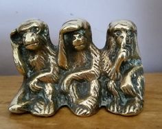 Vintage Three Brass Monkeys - Hear No Evil, See No Evil And Speak No Evil, Three Charming Solid Brass Monkeys Figures. by OnyxCollectables on Etsy Wise Monkeys, See No Evil, Solid Brass, Third, Lion Sculpture, My Etsy Shop, Miniatures, Statue, Antiques