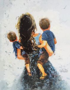 Mother And Son Discover Mother Two Sons Art Print two boys two brothers mother carrying two sons blue boys room wall art brunette mom and sons Vickie Wade Art Boys Colored Hair, Mother Images, Boy Art, Mother And Child, Fine Art Prints, Sketches, Wall Art, Drawings, Painting
