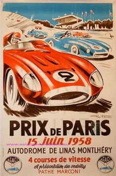 Ham Grand Prix Paris 1958 Autodromoe De Monthlhéry Imp J. Moray Paris Geo Ham Grand Prix Paris 1958 Autodromoe De Monthlhéry Imp J. Grand Prix, F1 Posters, Automotive Art, Art Graphique, Vintage Racing, Vintage Travel Posters, Illustrations And Posters, Courses, Vintage Advertisements