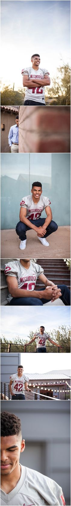 Senior boy portraits industrial desert high school senior pictures with football jersey