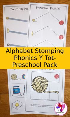 Free Alphabet Stomping Phonics Y Tot-Preschool Pack - 20 pages of printables - 3Dinosaurs.com