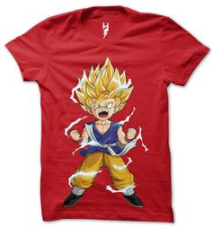 """Guardian of the city, I am the one and only... Great Saiyaman!""  Gohan's hair stands straight up with the exception of one lock that hangs down, and he is surrounded by aura electricity all the times.  Wear this awesome t-shirt and get the powers ""Gohan The Great Saiyaman"""