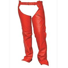 Allstate Biker Style Womens Cowhide Red Leather Motorcycle Chaps made of red cowhide leather with rear waist adjustment panel and belted with leg zippers for easy on or off, and one outer jean style slash zipper pocket with trimmable length for women bikers and motorcycle riders.