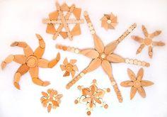 Wooden Snowflake Ornaments #christmascraftswithkids #ChristmasWonderland