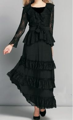 Elaine Set. Long sleeve ruffled blouse in sheer lace overlay with matching tiered ruffled skirt. Also sold separately at www.apostolicclothing.com #modestfashion #formalwear #modesty
