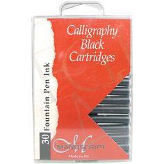 Manuscript Fountain Pen Ink Cartridges 30/Pkg-Black - Black