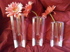 Set of 3 graduated lucite vases MCM Italian acrylic Guzzini vintage nesting cresent Lucite Ritts Astrolite - Set of 3
