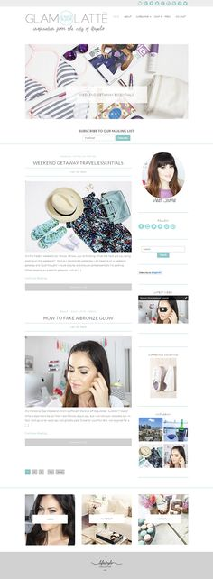 Chic blog design for a beauty, fashion and lifestyle blog. Using Olivie WordPress Theme from Bluchic. Visit site at glamlatte.com