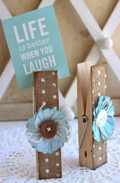 DIY Burlap Clothespins decor