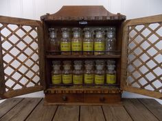 Vintage Wood Kitchen Herb Spice Rack Holder Wall Shelf w/ 12 Glass Bottles Retro Mid Century
