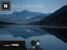 A mural of mountains over water Found in TSR Category 'Sims 4 Walls' Sims 4 Tsr, Sims Cc, Arcology, Sims Community, Sims 4 Custom Content, Electronic Art, Wall Murals, Improve Yourself, Ts4 Cc