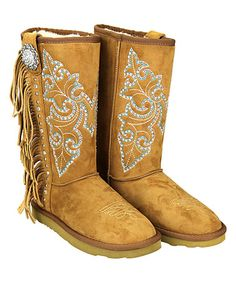 Another great find on #zulily! Brown Rhinestone & Fringe Faux Suede Boots #zulilyfinds