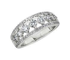 Diamond Graduated Triple Row Ring in White Gold by Blue Nile Wedding Ring Designs, Wedding Rings, Blue Nile Jewelry, Top Engagement Rings, Diamond Shop, Delicate Rings, Blue Rings, Round Cut Diamond, Fashion Rings