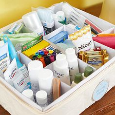 Treat Your Guests. Welcome guests with a thoroughly stocked hospitality kit. A canvas china-storage box designed for small coffee cups includes dividers that neatly compartmentalize if-you-left-it-at-home toiletries, as well as some pampering extras. Linen Closet Organization, Bathroom Organization, Bathroom Storage, Organization Hacks, Small Bathroom, Bathroom Drawers, Basket Organization, Bathroom Closet, Modern Bathrooms