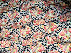 English vintage paisley rose blue pink yellow feather filled plump single eiderdown throw topper