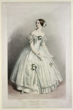 Print: Mademoiselle Fleury - La Jolie Fille de Gande  Alfred Edward Chalon (RA); Richard James Lane (A.R.A.); M & N Hanhart; John Mitchell  Goupil & Vibert (London and Paris)  France  1 May 1844  Hand coloured lithograph  Museum no.E.5010-1968    The celebrated dancer Mlle. Fleury stands with her body turned half to her left, her arms curving to her left, her head turned  to look across her right shoulder.  Her hair is severely  dressed, with a flower decoration to the back.