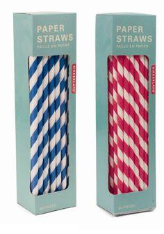 Apéritif - Pailles aux couleurs du thème : Blanches/Bleues & Blanches Rouges à rayures