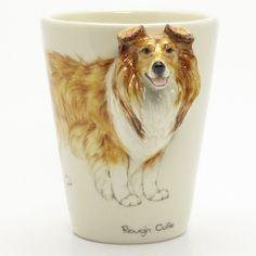 http://www.muddymood.com  Original hand sculpt and hand paint   Rough Collie 3D Dog Ceramic Mug Handmade.