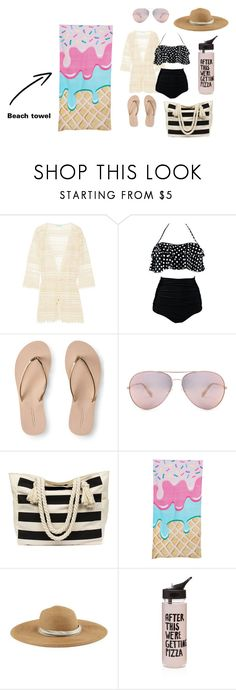"""Sunny day at the beach"" by makaila-mateus ❤ liked on Polyvore featuring Melissa Odabash, Aéropostale, Eugenia Kim and ban.do"