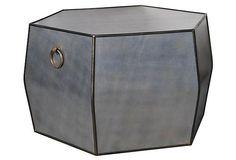 Raymond Coffee Table // Sarreid // gray leather + brass hardware // geometric