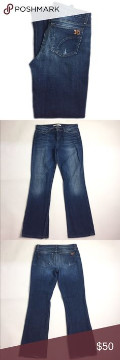 """Joe's Jeans The Muse Mid-Rise Boot Cut Jean 30 Gorgeous dark washed denim that are a 10"""" mid-rise fit with an 18"""" boot cut leg. Please note, this pair of jeans has been altered to a 29"""" inseam. Hems do have a bit of fray. Size 30 has a 34"""" measured waistline. 2% elastin for perfect stretch and re-shape. Great condition. A stock photo of this product in a darker wash has been provided to help you see the fit. A07080JV Joe's Jeans Jeans Boot Cut"""