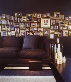 gold frames on dark wall - gallery wall Decor, Interior, Gold Frame, Home, Black Rooms, Frames On Wall, Golden Wall, Wall, Dark Wall