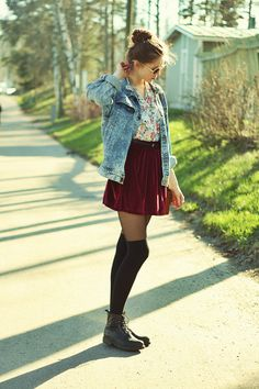 high waist skirt plus knee high socks