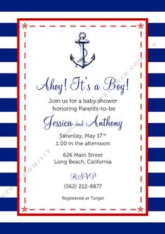 AHOY  Printable Baby Shower Invitation by Line117 on Etsy, $17.00