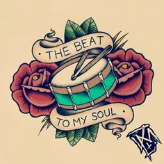 Drummer heart old school tat