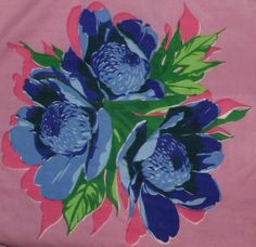 Vintage Blue Flowers with Mauve Background Cotton Rolled Edge Hanky Handkerchief