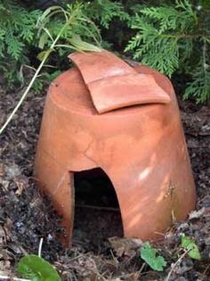 Broken Pot Ideas - upturned pot can provide a safe haven for frogs or lizards - helps keep garden in balance/ insect population in check.