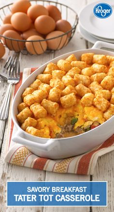 This Breakfast Tater Tot Casserole is a kid's dream come true! Sausage and fresh veggies are mixed together in a creamy milk sauce, then topped with eggs, cheese, and a crispy layer of tater tots. Tater Tot Breakfast, Savory Breakfast, Breakfast Dishes, Breakfast Time, Breakfast Recipes, Breakfast Casserole, Breakfast Potluck, Pancake Recipes, Breakfast Pizza