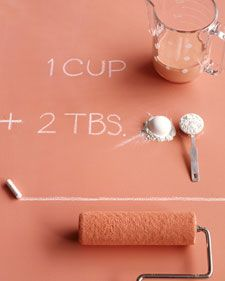 Custom color chalkboard paint. 1 cup latex or acrylic paint (any color) 2 TBS of unsanded grout Mix a little at a time until there are no lumps.  Paint with a foam brush or a roller on a painted or primed surface until even. Let dry, season by rubbing the side of a chalk stick lightly over the painted area, wipe off with a barely damp cloth.  Now use as a chalk board.