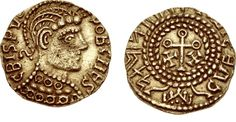 A gold 'Crispus' thrymsa from the late 7th century, part of a hoard discovered in Suffolk in 1990.