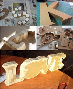 diy letras de cartón Cardboard Letters, Diy Letters, Diy Cardboard, Home Crafts, Diy And Crafts, Paper Crafts, Diy Karton, Paper Flowers, Diy Gifts