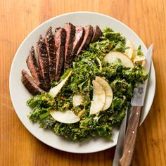 Creamy Kale Salad with Skirt Steak: Dressing the kale in step 1 gives the hearty greens time to soften while we cook the steaks.