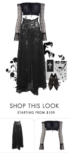 """Night Stalker"" by girl-named-raven ❤ liked on Polyvore featuring Verlaine, Romeo Gigli, Tokyo Rose and Comme des Garçons"
