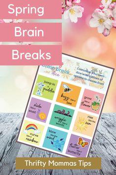 Take Digital Breaks - Spring Brain Breaks Game - Thrifty Mommas Tips #spring #printables #games #fun #family #free Free Activities, Sensory Activities, Bee Life Cycle, Dice Template, Digital Detox, Chores For Kids, Brain Breaks, Kids Prints, Parenting Advice