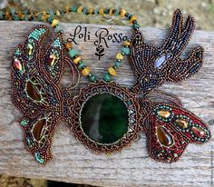 "Necklace ""Jade Summer' by Loli Rosso. Nephritis, citrine, moonstone, raw amber, beaded swallow & butterflies"