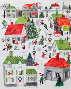 50s Bernice Myers Bustling Town Scene Vintage Christmas Card Greeting | eBay