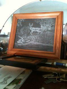 deer at brook glass engraving