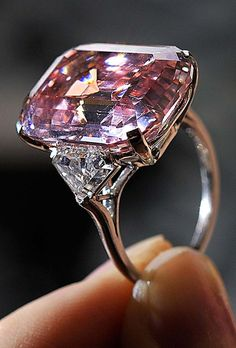 A rare 24.78 carat Fancy Intense Pink diamond that was auctioned last year.