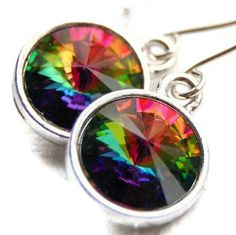 Crystal Rainbow Earrings Colorful Vitrail by GreenRibbonGems, $24.00  gorgeous!  http://www,deltamoonsoap.com