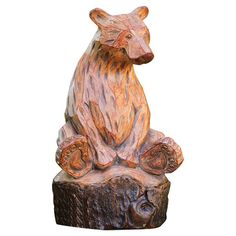 Add a touch of woodland charm to your patio or garden with this bear statuette, featuring a carved design for rustic appeal.  Produc...